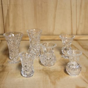 Cut Glass Vases Bud, Wedding Hire Auckland