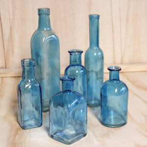 Vintage Style Blue Bottles, Wedding Hire Auckland