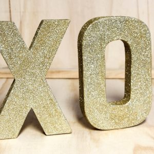 Gold Glitter XO Letters, Wedding Hire Auckland