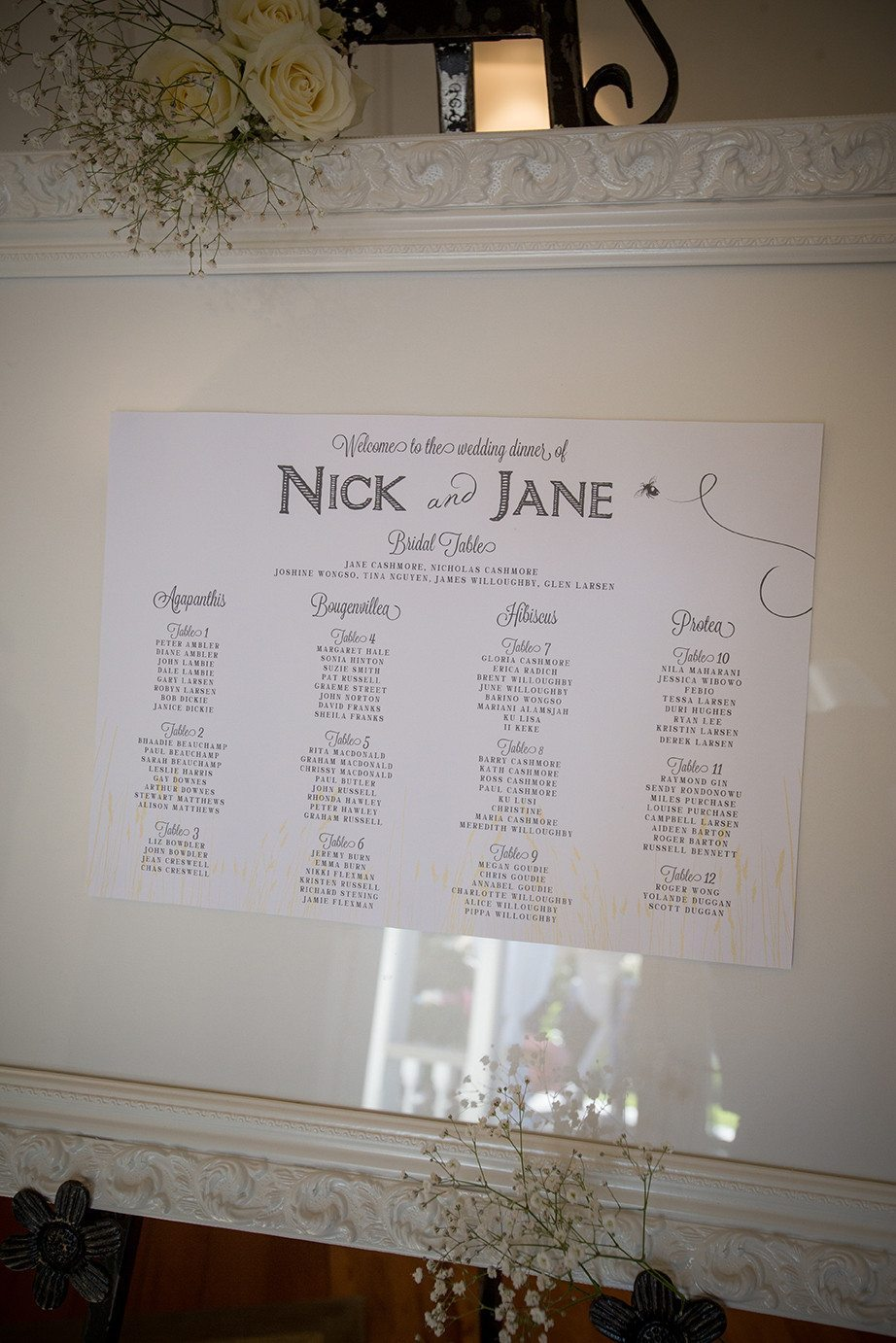 Ornate White Frame- Large (Seating Chart) | Wedding Hire | Envy Events