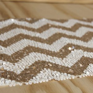 Sequin Table Runner Chevron Champagne & Cream, Wedding Hire Auckland