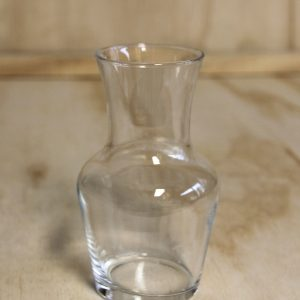 Small glass carafe style vase, wedding hire auckland