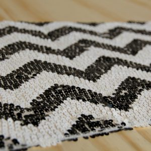 Sequin Table Runner Chevron Black & White, Auckland Wedding Hire